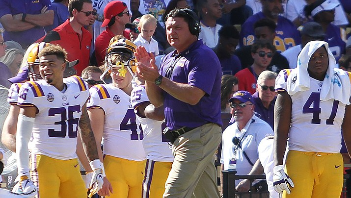 LSU coach Ed Orgeron and the top-ranked Tigers completed a 15-0 season with a dominating and decisive 42-25 win Monday over No. 3 Clemson. (Photo by Tammy Anthony Baker, CC by 4.0, https://bit.ly/2QT9fUn)