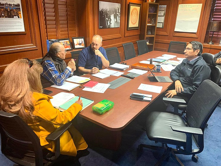 President Jonathan Nez and Zwierlein meet with Council Delegate Eugene Tso Jan. 7, regarding concerns over the legislation. (Photo/Office of the President and Vice President)