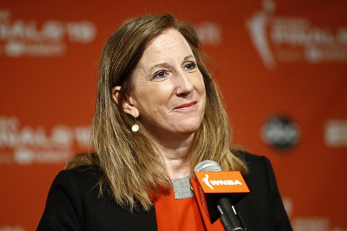 "In this Sept. 29, 2019, file photo, WNBA Commissioner Cathy Engelbert speaks at a news conference in Washington. The WNBA and its union announced a tentative eight-year labor deal Tuesday, Jan. 14, 2020, that will allow top players to earn more than $500,000 while the average annual compensation for players will surpass six figures for the first time. I call it historic,"" WNBA Commissioner Cathy Engelbert said in a phone interview. (Patrick Semansky/AP, file)"