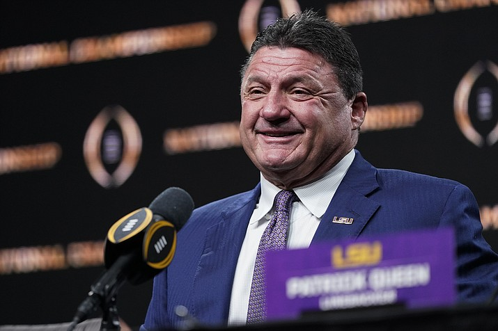 LSU head coach Ed Orgeron speaks during a news conference after their teams win in the NCAA College Football Playoff national championship game Tuesday, Jan. 14, 2020, in New Orleans. LSU won 42-25 over Clemson on Monday. (David J. Phillip/AP)
