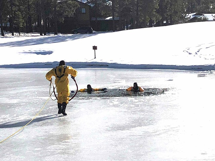 Ponderosa Fire District Engine 821 crew participates in ice water rescue training with the Greater Flagstaff Region partners at Flagstaff Ranch Jan. 7. (photo/Ponderosa Fire Dept.)