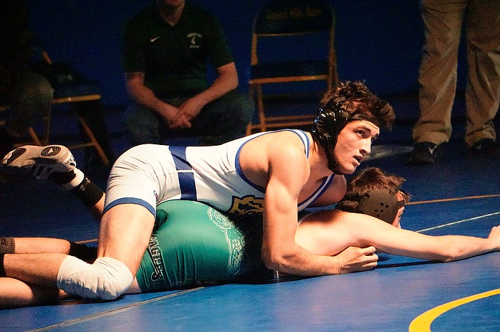 Prescott wrestler Lincoln Eby, top, pins his opponent from Flagstaff during a multi-team meet with Mingus on Wednesday, Jan. 15, 2020, in Prescott. (Aaron Valdez/Courier)