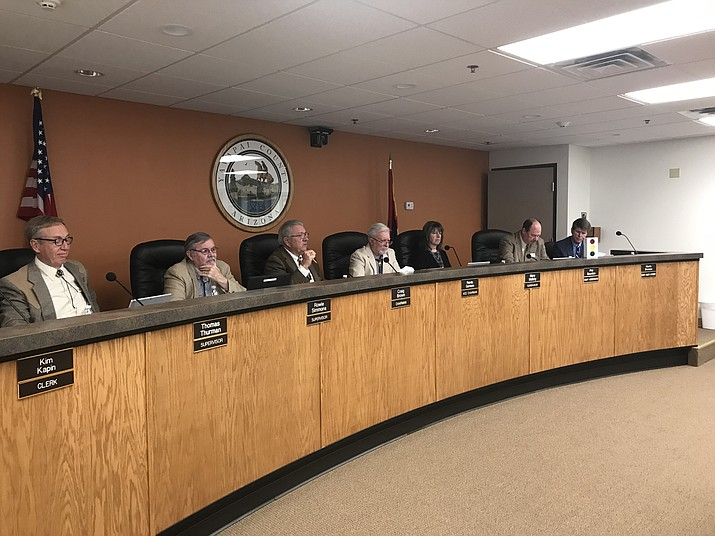 On Wednesday, Jan. 15, 2020, at its regular monthly meeting in Cottonwood, the Yavapai County Board of Supervisors unanimously approved a location for a peace officer memorial. The courthouse square location is between the Bucky O'Neill Monument and a war memorial, near the gazebo, on the northwest corner of the plaza closest to the intersection of Montezuma and Gurley streets. (Jason W. Brooks/VVN)
