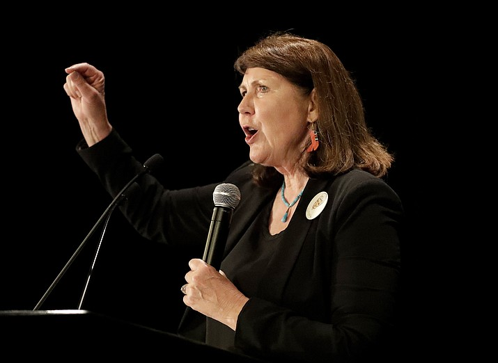"""In this Nov. 8, 2016 photo, Democratic senatorial candidate U.S. Rep. Ann Kirkpatrick, D-Ariz., speaks to supporters during an election night party in Phoenix. Kirkpatrick said Wednesday, Jan. 15, 2020, that she's taking time off from her congressional duties to seek treatment for alcohol dependence after a """"serious"""" fall. Kirkpatrick, said she's """"finally seeking this help after struggling to do so in the past."""" (Matt York/AP, file)"""