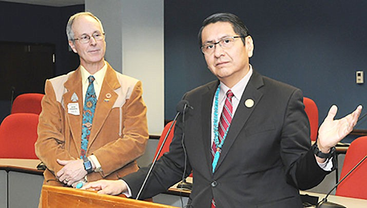 Navajo Nation President Jonathan Nez explains Tuesday why his tribe wants to keep some of taxes generated by sales on tribal lands. He supports legislation to do that crafted by Rep. Bob Thorpe, left. (Capitol Media Services photo by Howard Fischer)