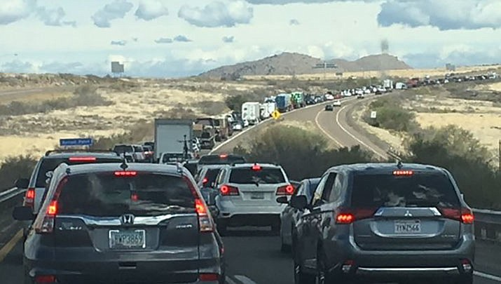 In this undated file photo, traffic backs up on Interstate 17 near Sunset Point. The Arizona Department of Transportation advised drivers who are planning to use Interstate 17 in north Phoenix to be aware of overnight lane restrictions and full closures near Pinnacle Peak Road beginning next week (ADOT, file/Courtesy)