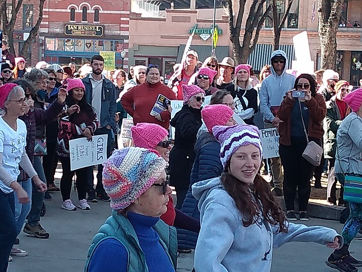 Hundreds of people gather outside of the Yavapai County Courthouse to march and celebrate women at the Prescott Women's March on Saturday, Jan. 18, 2020. (Jesse Bertel/Courier)