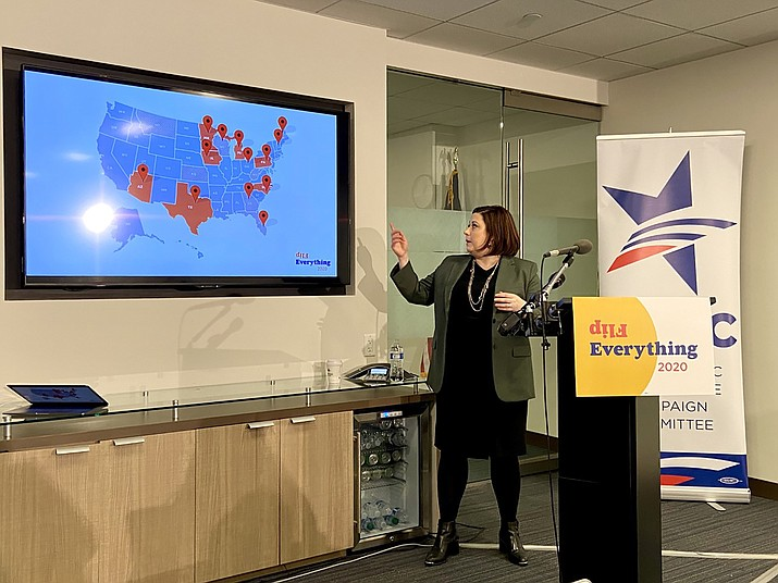 "Democratic Legislative Campaign Committee President Jessica Post said Arizona is one of seven ""deep red"" states where her group aims to flip the statehouse to Democratic control in 2020. (Photo by Jessica Myers/Cronkite News)"