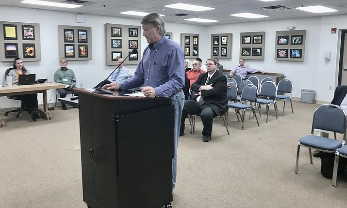 John Bradshaw takes questions Wednesday from the Yavapai County Board of Supervisors regarding the Alcantara Vineyards he's helping develop. The project still isn't completed, despite having been first approved by the county more than 15 years ago. VVN/Jason Brooks