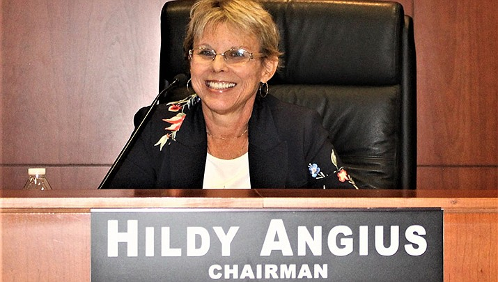 Mohave County Supervisor Hildy Angius is shown at a recent meeting. (Photo by Agata Popeda/Kingman Miner)
