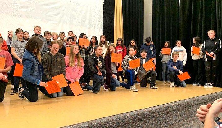 More than 100 third through eighth grade students were recognized at the Williams Elementary-Middle School awards ceremony Jan. 15. The awards were sponsored by Williams Kiwanis, WEMS PTSA, McDonald's, Chick-fil-A and Carl's Jr. (Photo courtesy of WEMS)