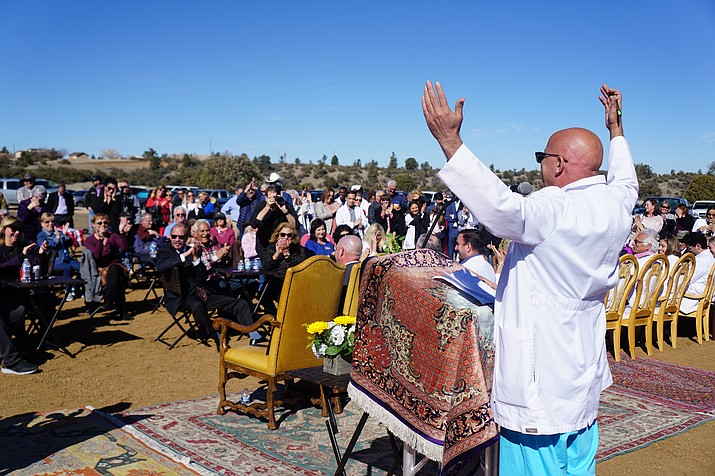 Dr. Hojat Askari speaks to a crowd of more than 200 people during a groundbreaking for his Whispering Rock project in northeast Prescott Thursday, Jan. 23, 2020. The medical-complex project, located along Willow Creek Road across from Embry-Riddle Aeronautical University, is still awaiting word on whether Banner Health will use a portion of the parcel to build a hospital. (Cindy Barks/Courier)