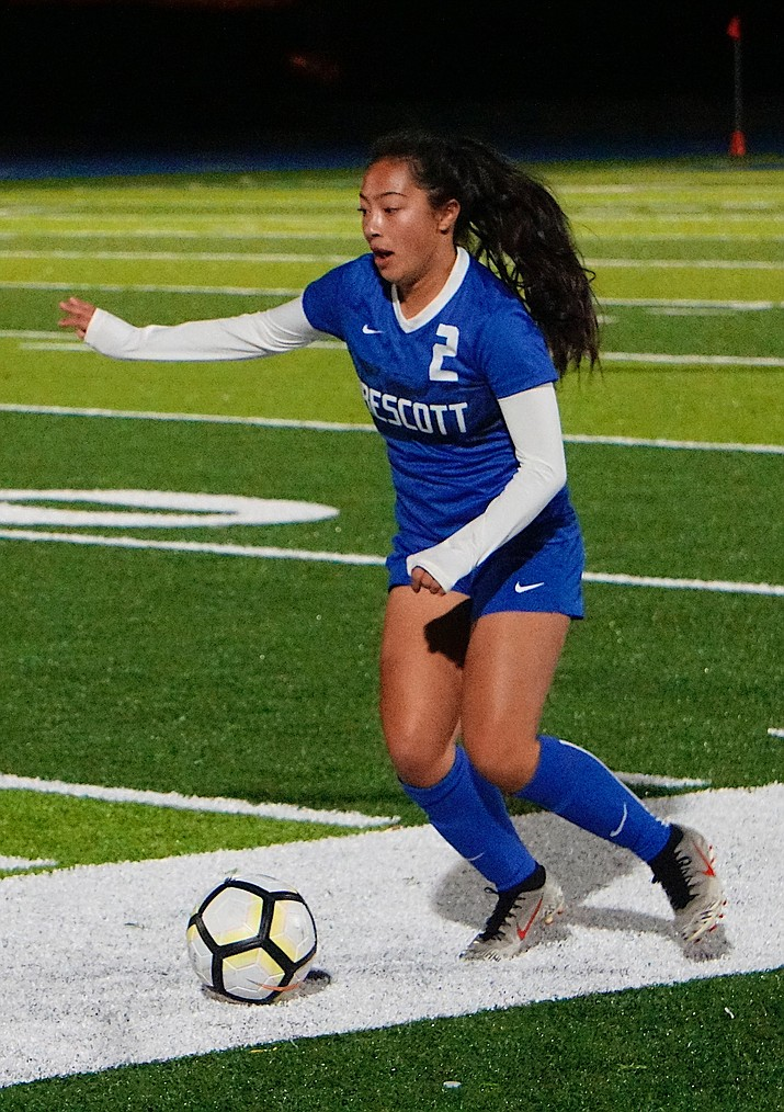 Prescott defender Indy Dimaano-Simmons (2) dribbles the ball after getting a steal during a game against Minugs on Thursday, Dec. 5, 2019, at Bill Shepard Field in Prescott. (Aaron Valdez/Courier, file)
