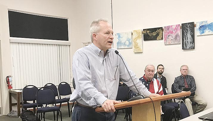Sunridge Hotel Group President Brian Welker speaks to the Cottonwood Council at Tuesday's meeting. The Council unanimously approved the $383,000 purchase of 2.2 acres of city-owned land at Sixth Street and West State Route 89A by Welker and his group after he announced he was dropping request to waive an estimated $100,000 in fees as part of the agreement. VVN/Jason W. Brooks