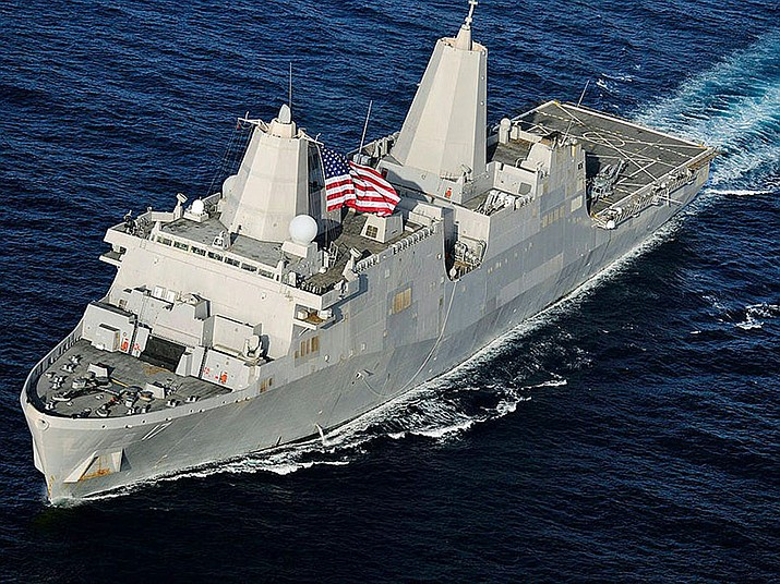 One of the types of Navy vessels that could be dubbed the U.S.S. Granite Mountain, in honor of the Yarnell 19, is the San Antonio-class amphibious ship. (US Navy/Courtesy)