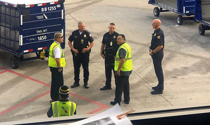 In this Friday, Jan. 24, 2020 Phoenix police officers are seen on the tarmac of Phoenix Sky Harbor Airport in Phoenix, Ariz. (Jim Whitfill via AP)