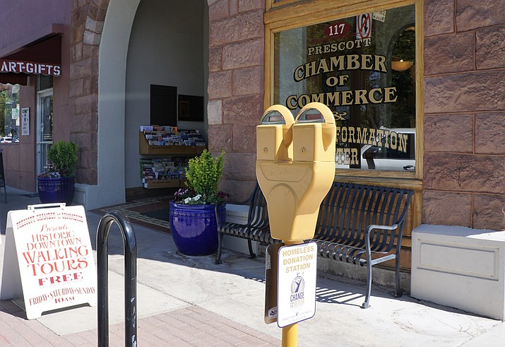 Donation meters were installed in downtown Prescott in the spring of 2018. The proceeds from the meters are dedicated to non-profit organizations helping the homeless. (Cindy Barks/Courier, file)
