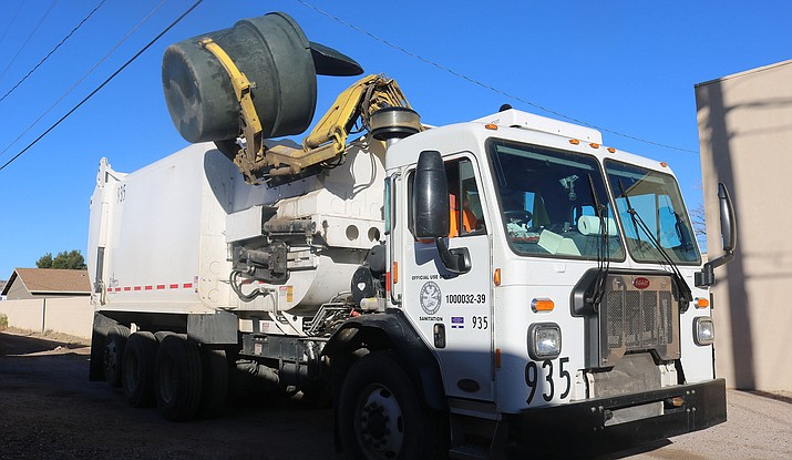 The City of Kingman's contamination rate for recyclables has dropped from 47% to less than 10% resulting in cost savings, but fleet maintenance costs on older garbage trucks is an issue still needing addressed. (Photo by Travis Rains/Miner)