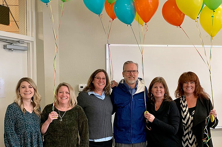 Left to right: Abia Judd fourth grade teacher Whitney Williams, grants specialist Kelly Mattox, food services manager Amy Seigler, foundation member and Foothills Bank executive Scott Fagin, Abia Judd Principal Stephanie Hillig and Lincoln Elementary Principal Karen Hughes. (Courtesy)