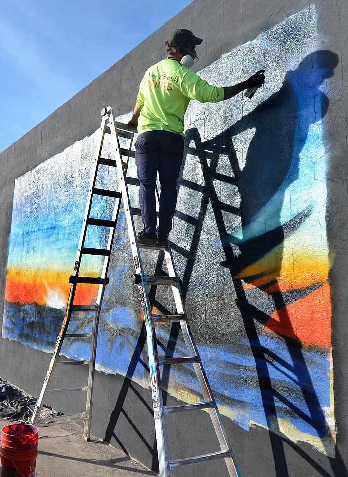 Nicholas Caruso has finished his new mural on the side of the Old Town Red Rooster Café in Cottonwood. VVN/Vyto Starinskas