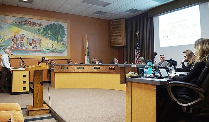 The Prescott City Council is presented with a new water model during a study session on Tuesday, Jan. 28, 2020. The model will be used as a tool to track the city's actual, estimated and projected water demands and supplies. (Cindy Barks/Courier)