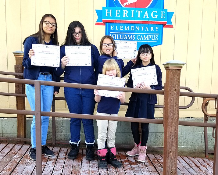 The January Students of the Month for Heritage Elementary School include, from left: Valeria Davalos, Stevie Strange-Rincon, Evette Paredes, Adryana Ruiz and Ximena Herrera. (Photo/Heritage Elementary School)