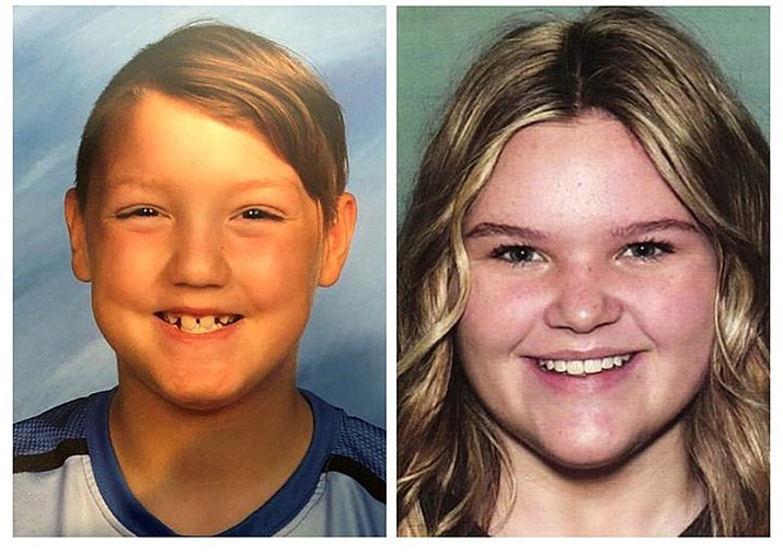 """This combination photo of undated file photos, released by the National Center for Missing and Exploited Children, show missing children Joshua """"JJ"""" Vallow, left, and Tylee Ryan. Police say the mother of two missing kids has been found in Hawaii, along with her new husband, but the children still have not been located. Seventeen-year-old Tylee and 7-year-old Joshua have been missing since September 2019, and police say their mother, Lori Vallow Daybell, and her new husband Chad Daybell, lied to investigators about where the children are. When police returned to their home in Idaho to question them again, the adults had disappeared. (Photo by National Center for Missing and Exploited Children)"""