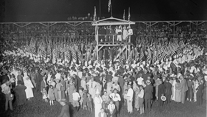 This photo from the Library of Congress shows a KKK rally in 1925 in the United States. (Library of Congress/Public domain)