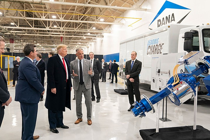 U.S. President Donald Trump is shown advanced transmissions, axle designs and driveshafts during a tour at Dana Incorporated in Warren, Mich. on Thursday, Jan. 20. The president's impeachment trial is expected to conclude on Wednesday, Feb. 5 in the U.S. Senate. (Official White House photo/Public domain)