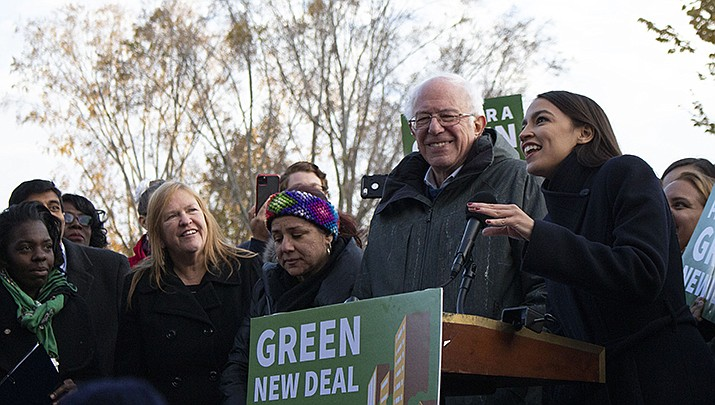 U.S. Sen. Bernie Sanders (D-Vermont), a candidate for the Democratic nomination for U.S. president, campaigns with U.S. Rep. Alexandria Ocasio-Cortez. The Iowa caucuses will be held today, Monday, Feb. 1, the first test for remaining Democratic candidates. (Bernie Sanders courtesy photo via Flickr)