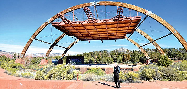 Tod Christensen of Russ Lyon Sotheby's International Realty stands in the Georgia Frontiere Performing Arts Pavilion at the Cultural Park in Sedona last week. The ampitheater is set to be torn out. VVN/Vyto Starinskas