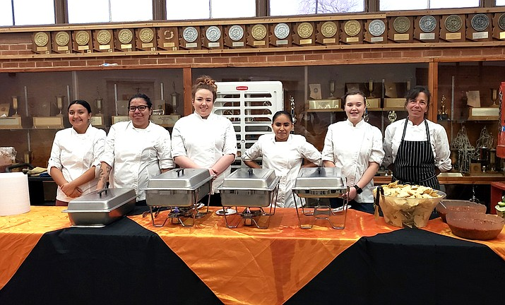 Williams High School culinary students catered the winter sports banquet Jan. 22. Students include: Abigail Moreno, Kenia Cabrera, Emily Noble, Reykell Jimenez and Emma Gordon. Also pictured is kitchen assistant Lisa Noble. (Photo/Williams High School