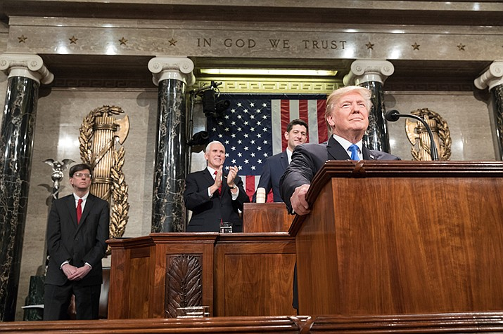 U.S. President Donald Trump is shown during his 2018 State of the Union address. There was no shortage of theatrics on Tuesday, Feb. 4 as Trump delivered his 2020 address in Washington, D.C. Trump declined to shake House Speaker Nancy Pelosi's hand before the speech, and Pelosi tore apart her draft of the speech when the address was over. (Official White House Photo by Shealah Craighead)