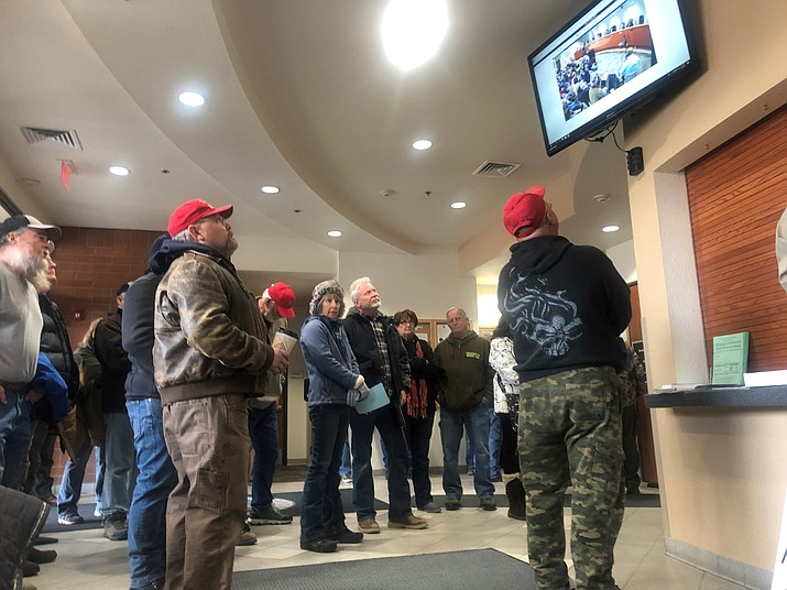 The crowd at the Yavapai County Board of Supervisors' meeting overflowed into the lobby of the County Administration Building Wednesday, Feb. 5. (Cindy Barks/Courier)