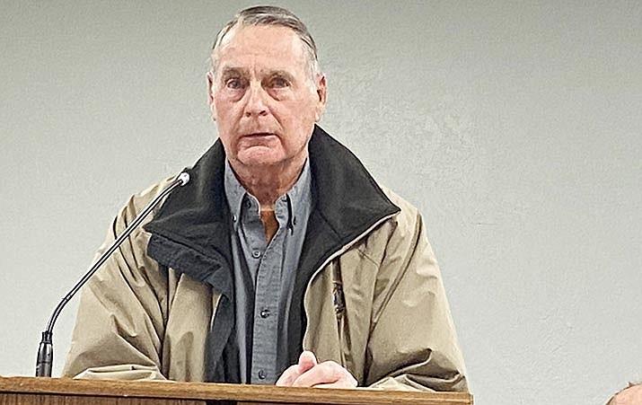 "Camp Verde resident Bruce George withdrew his complaint Wednesday against Council Member Joe Butner."" VVN/Bill Helm"