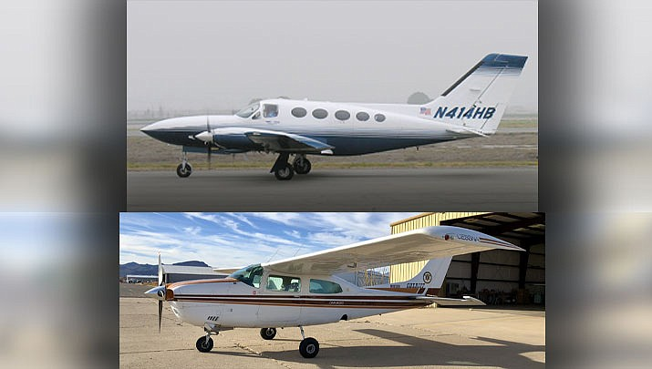 The Mohave County Sheriff's Office's will replace a grounded 1976 Cessna T210 (bottom) with a bigger, faster 1982 Cessna 414A. (T210 photo/Mohave County Sheriff's Office; 414A photo/ Greg Goebel, cc-by-sa-2.0, http://bit.ly/3aYhYMT)