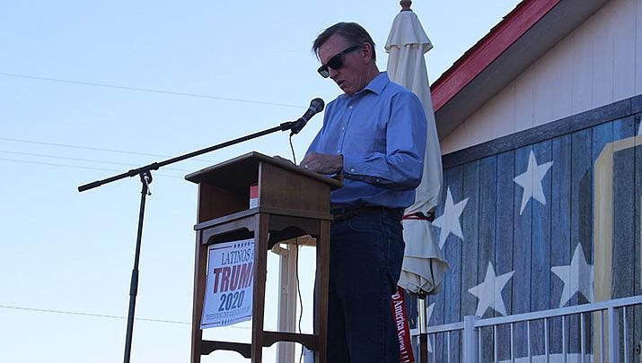 U.S. Rep. Paul Gosar (R-Prescott) speaks at the Trumpstock Festival in Golden Valley on Oct. 6, 2019. (Miner file photo)