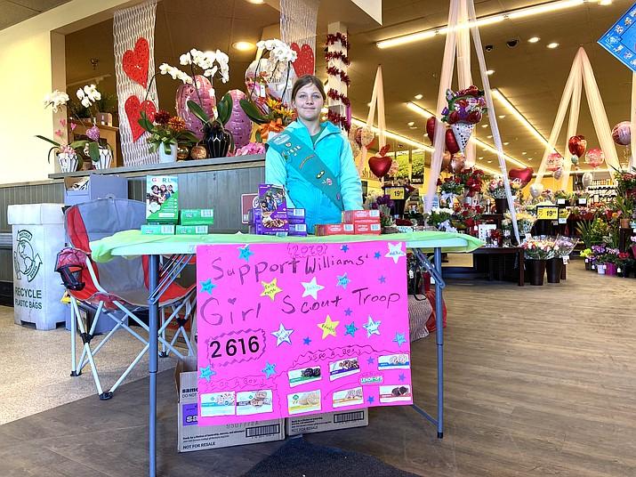 Williams Girl Scout Samara Bowdon sells cookies at Safeway Feb. 8. (Wendy Howell/WGCN)