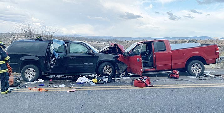 According to the Yavapai County Sheriff's Office, a 5-year-old Rimrock girl has died of injuries suffered at about 4 p.m. Monday in this collision on Cornville Road, near I-17. Both drivers and the 5-year-old daughter of one driver being taken to hospitals with serious injuries. The mother of the child admitted to first-responders she had mixed medical marijuana with pain pills; no information has been released about whether the mother will be charged with any crimes. YCSO courtesy photo