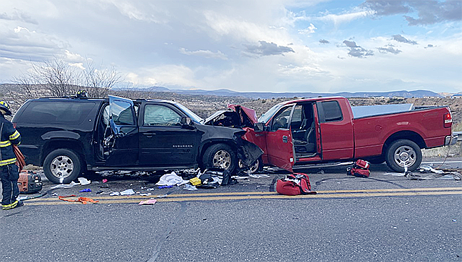 Two vehicles hit head on along Cornville Road on Monday, Feb. 10, 2020. A child and both drivers were seriously injured. (YCSO/Courtesy)