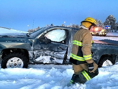 Williams Fire responded to several slide offs after vechicles encountered black ice on I-40 Jan. 10. (Photo/Williams Volunteer Fire Department)