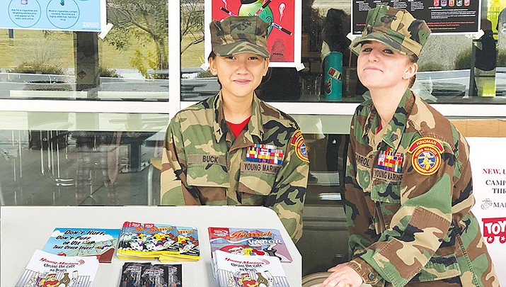 Kingman Young Marines Sgt. Carisa Carroll, right, and PFC Jenny Buck assist at the Lee Williams Toys for Tots Give Back Day on Saturday, Dec. 7, 2019. (Kingman Young Marines courtesy photo).