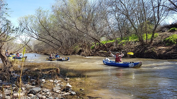 Participants have fun on the Verde River during a previous Verde River Runoff. (Courtesy)
