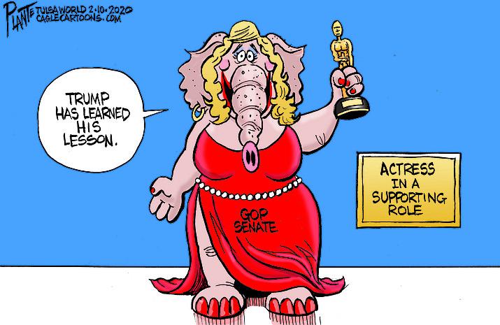 Editorial cartoon (2): Feb. 13, 2020