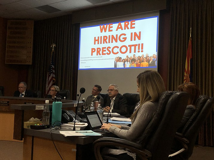 The Prescott City Council listens to an update on the Census 2020 process from Census Bureau Partnership Specialist Kimberley Robinson, who pointed out that the bureau is seeking employees to help with the Prescott census. Information is available on the Census website at: https://2020census.gov/en/jobs. (Cindy Barks/Courier)