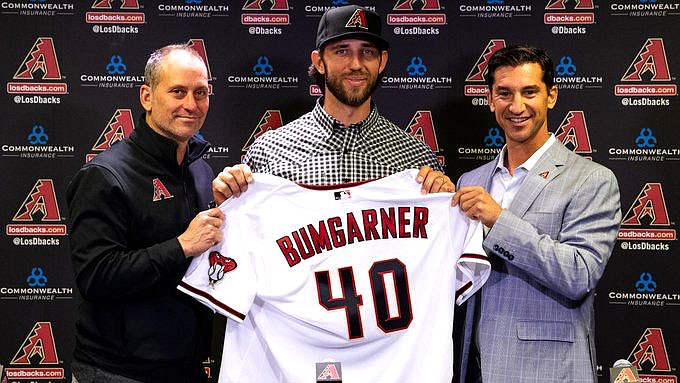 Madison Bumgarner signed an $85 million, five-year deal in December and comes to Arizona after a stellar decade with the San Francisco Giants. (Photo courtesy of Arizona Diamondbacks)