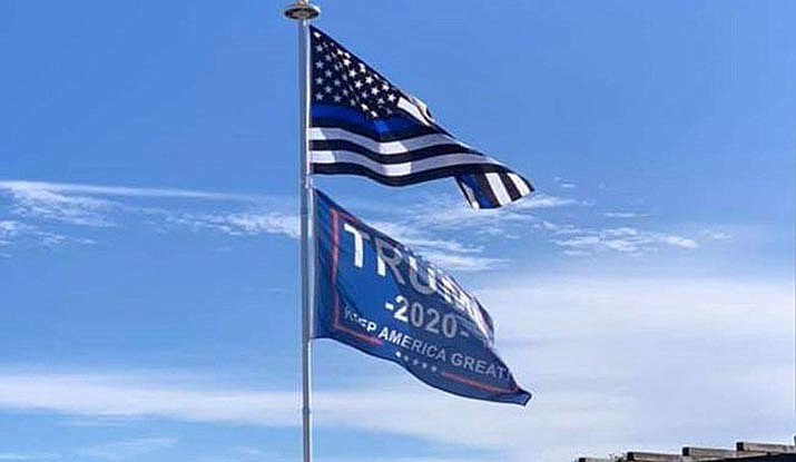 """Prescott Valley resident Tawney Baccellia flies this """"Trump 2020 Keep America Great"""" flag under her Thin Blue Line flag on a pole in the backyard of her home in the Viewpoint subdivision. After some controversy, PV's Planning & Zoning Commission considered whether or not this should be a town code violation during its Feb. 10, 2020, meeting. (Tawney Baccellia/Courtesy)"""