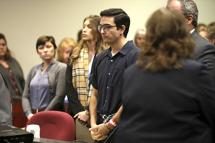 Steven Jones was sentenced to a six year prison term Tuesday, Feb. 11, 2020, in Flagstaff, Ariz., after taking a plea deal on one count of manslaughter and three counts of aggravated assault stemming from an October 2015 shooting on the Northern Arizona University campus which left one student dead and three others wounded. (Jake Bacon/Arizona Daily Sun via AP)