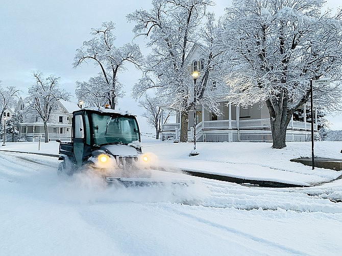 A snowplow in the Veterans Affairs housing area takes care of the street for the residents on Tuesday, Feb. 11, 2020. (Aaron Ricca/Courtesy)