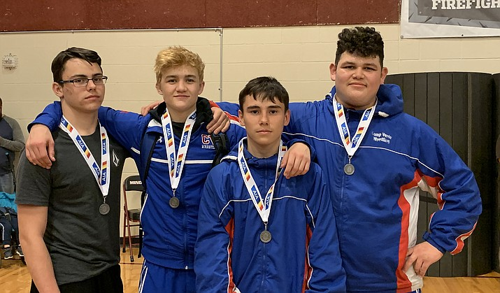 Camp Verde wrestling's state qualifiers from left: Garrett Dulaney, Dade Woodard, Ethan Zepeda and Roy Galvan. Photo courtesy Larry Allred